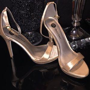 Michael Antonio nude silk heels. Brand new!